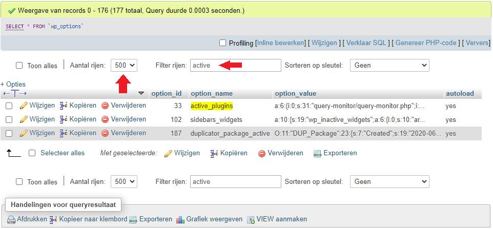 Active plugins zoeken