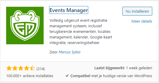 Events manager plugin