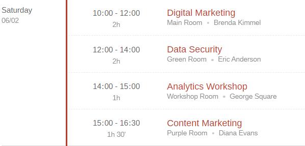 events schedule plugin