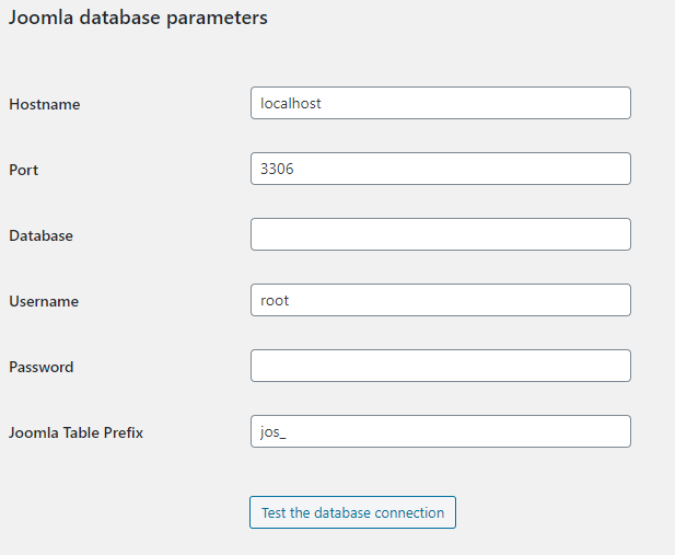 Joomla database parameters