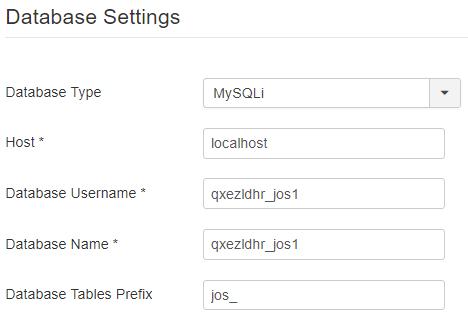 Joomla Database instellingen