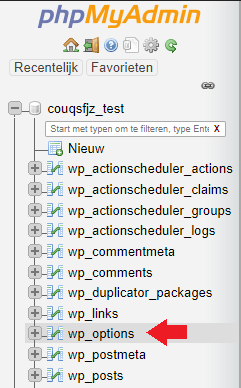 phpMyAdmin wp-options