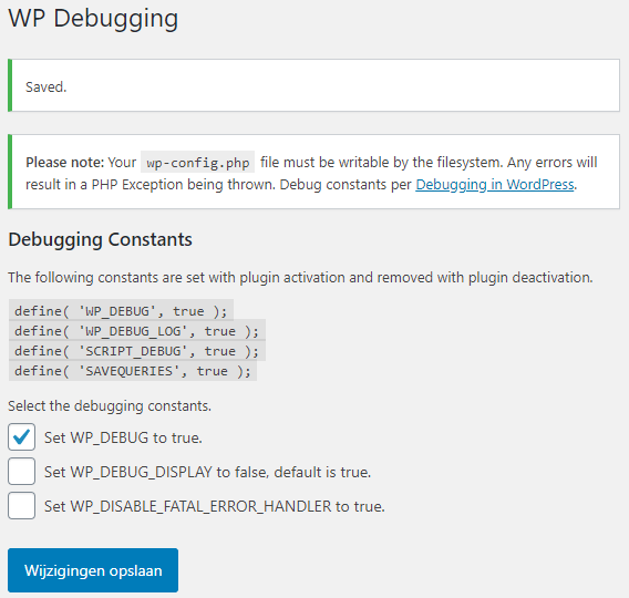 WP Debugging Plugin