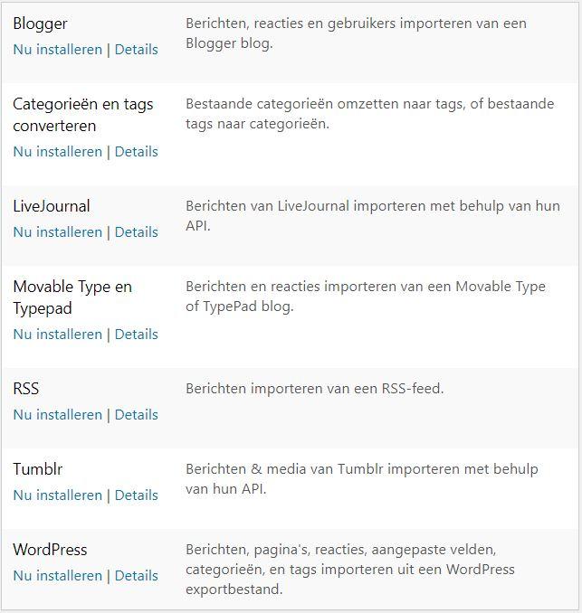 WordPress data importeren