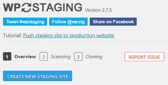 WP Staging stap 1