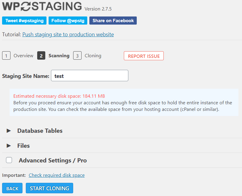 WP Staging stap 2