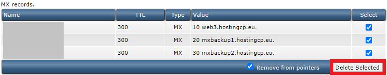 mx-records verwijderen