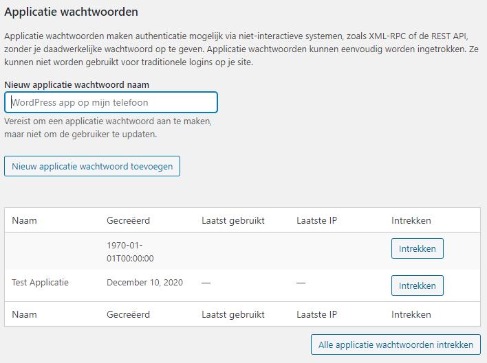 Applicatie wachtwoorden