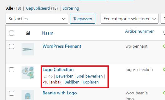 WooCommerce Product id