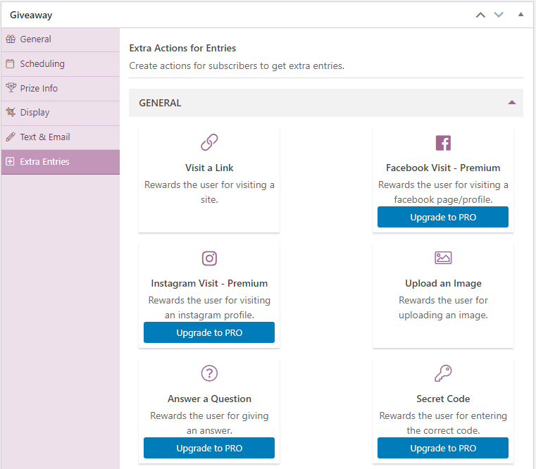 Simple Giveaways links