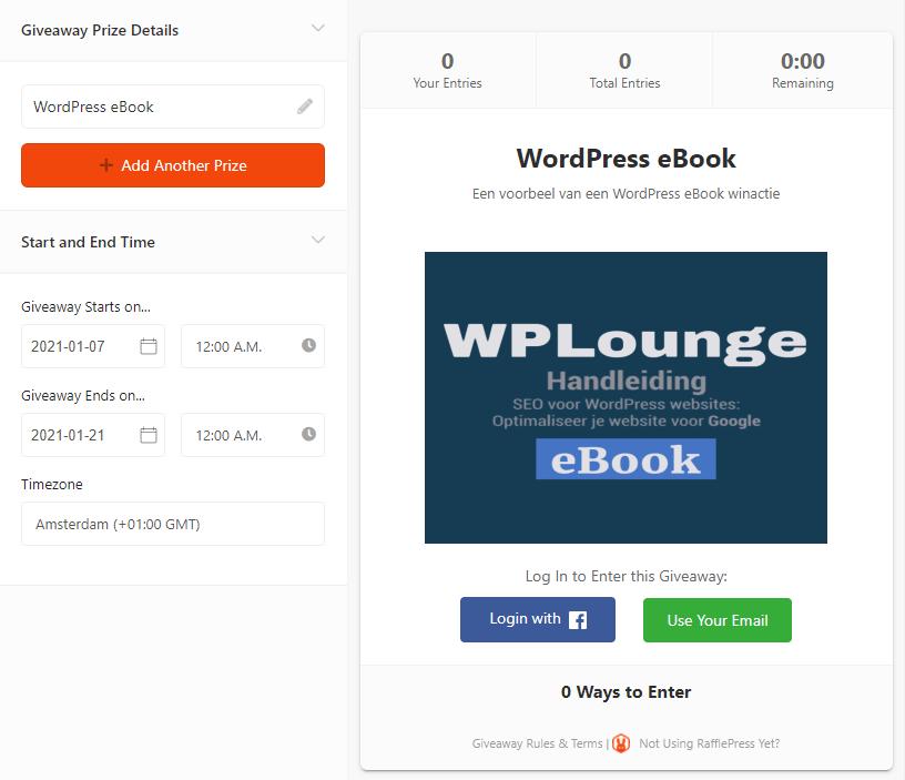 Winactie instellen RafflePress
