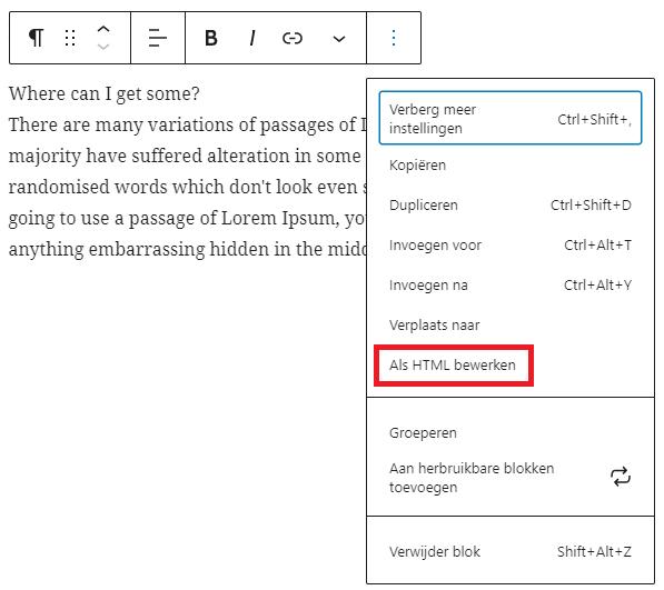 Gutenberg HTML bewerken