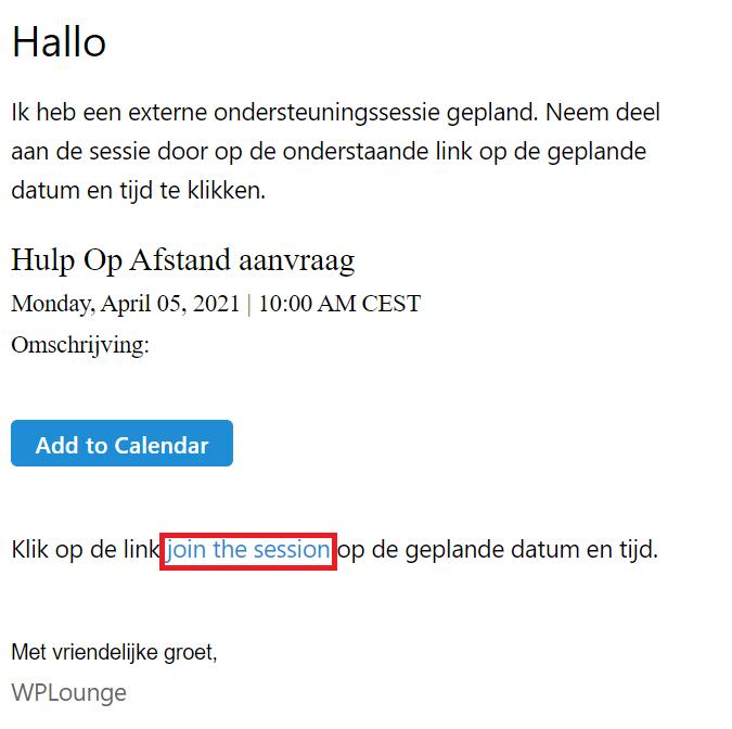 email link Hulp op Afstand