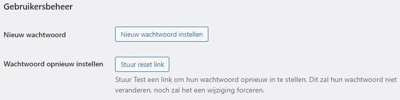 Stuur reset link WordPress