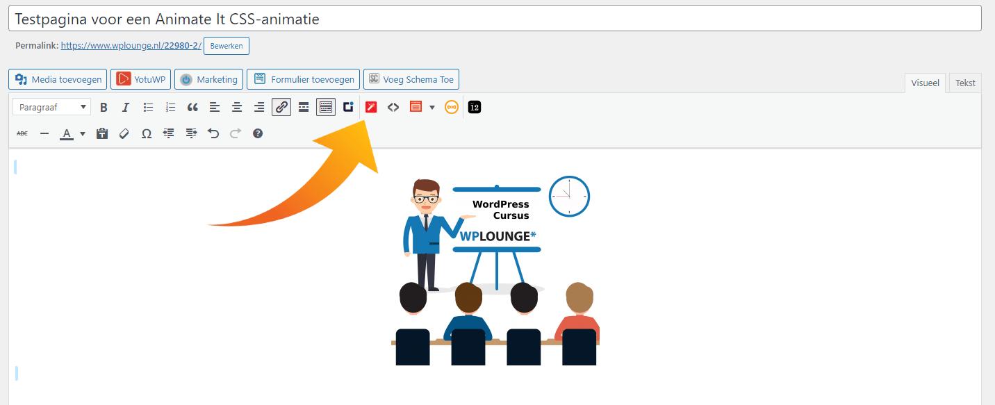 Een animatie toevoegen in de klassieke editor van WordPress (1)