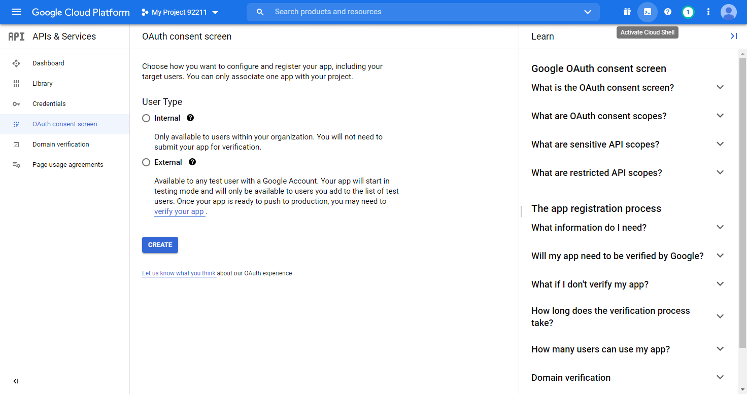OAuth consent screen user type