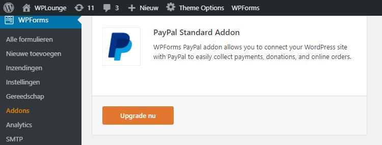 PayPal Add-on binnen WPForms