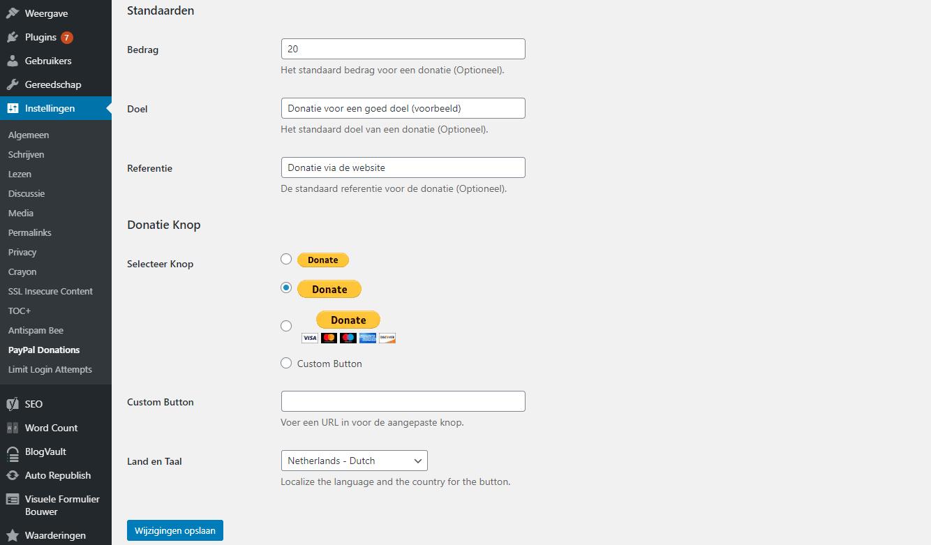 Verdere instellingen binnen de PayPal Donations plugin