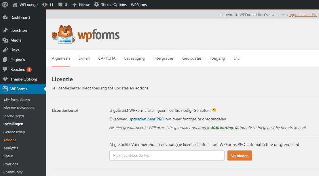 WPForms licentiecode voor de premiumversie