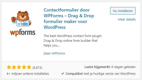 WPForms plugin voor WordPress