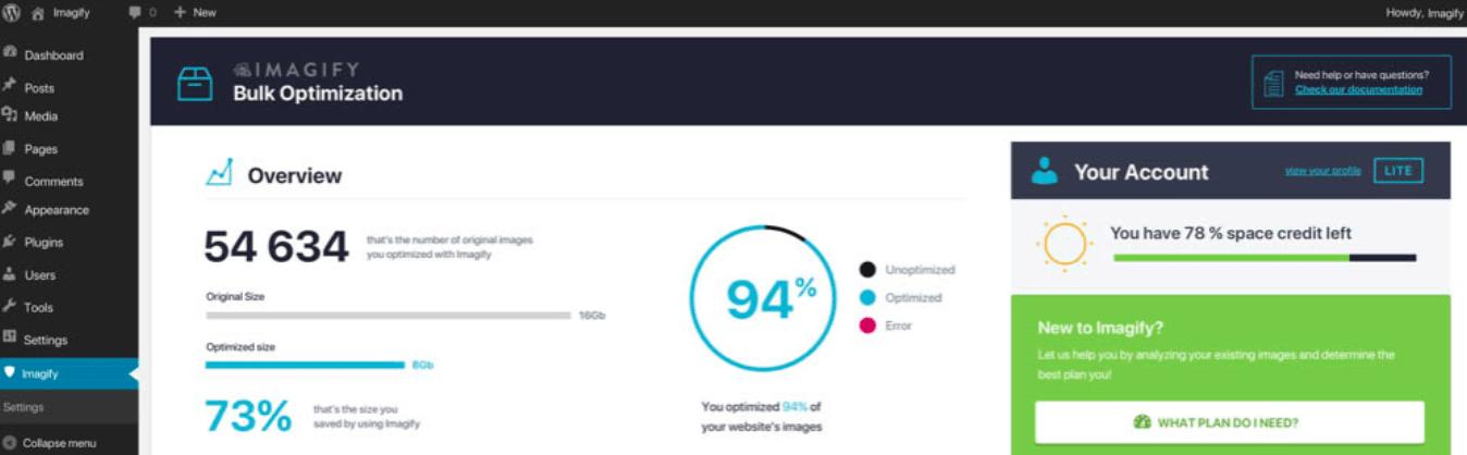De Imagify plugin in het WordPress dashboard