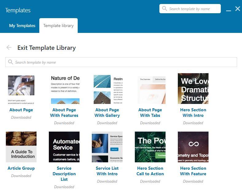 WPBakery template bibliotheek