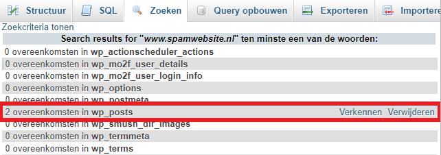 phpMyAdmin zoekresultaten