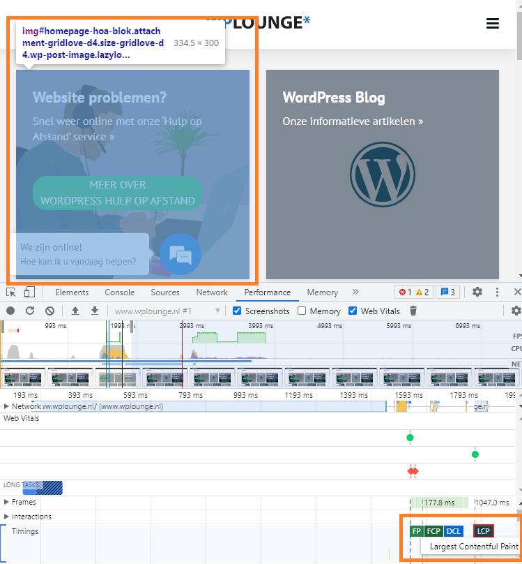 Chrome dev tools LCP