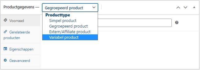 Instellen van product variaties